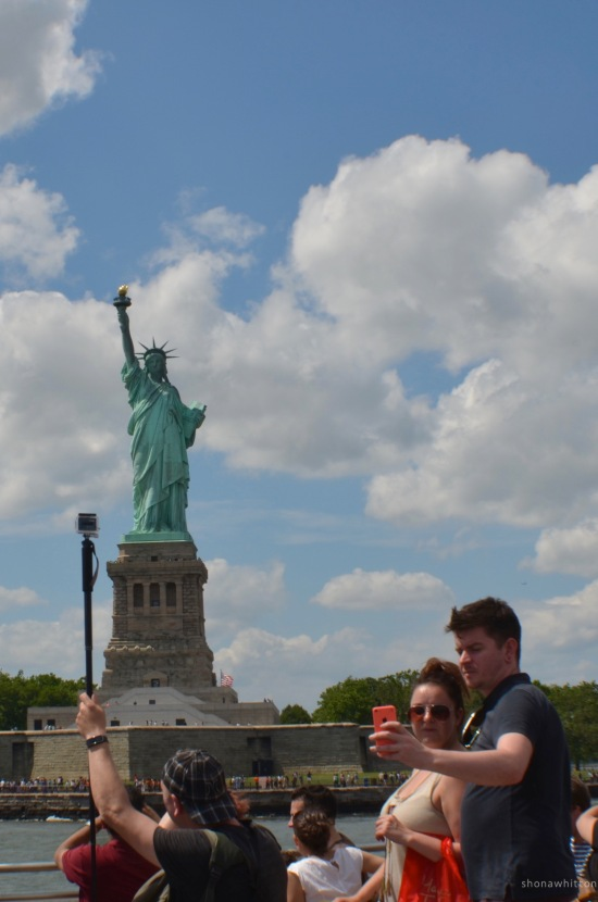 Lady Liberty and her fans.