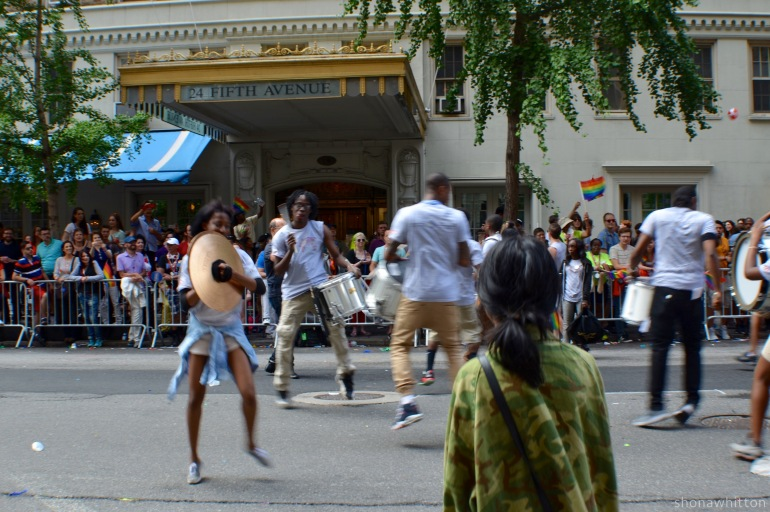 Parade beats, 5th Avenue, Greenwich Village.