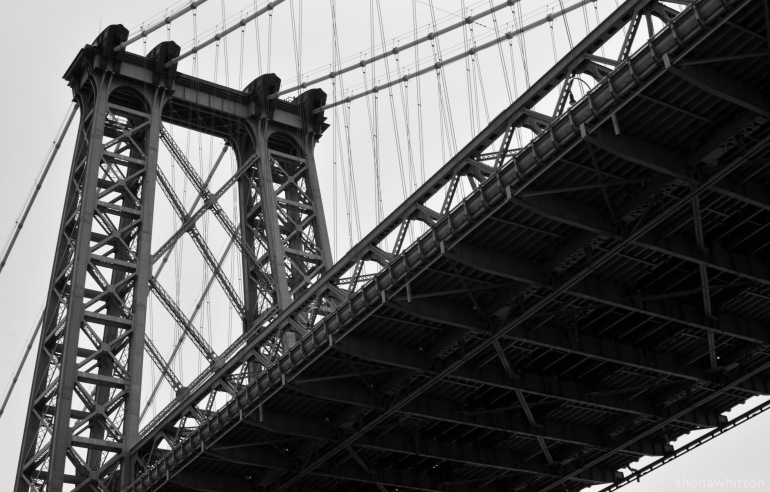 Williamsburg Bridge from below. East River.
