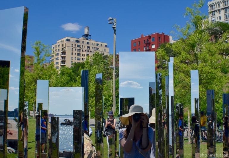 I see you, do see me? 'Please Touch the Art' mirror maze installation. Brooklyn Bridge Park.