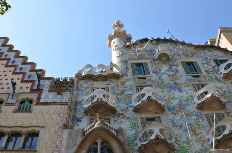 War of the facades. Casa Batllo designed by Gaudi on the left and Casa Amatller by Puig i Cadafatch on the right.